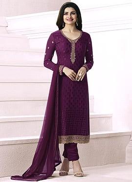 Prachi Desai Purple Georgette Straight Suit