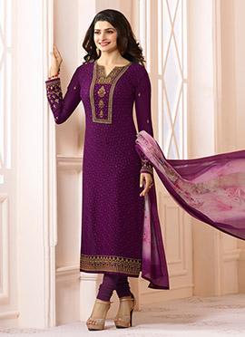 Prachi Desai Purple Straight Suit