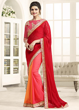 Prachi Desai Red and pink Border Saree