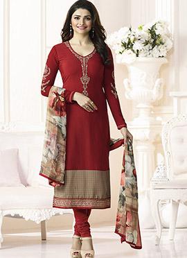 Prachi Desai Red Crepe Pakistani Straight Suit