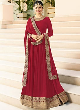 Prachi Desai Red Embroidered Anarkali suit