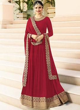 Prachi Desai Red Embroidered Anarkali suit