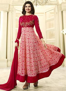 Prachi Desai Red Georgette Anarkali Suit