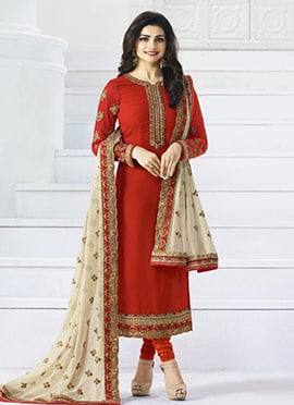 Prachi Desai Red Georgette Straight Suit