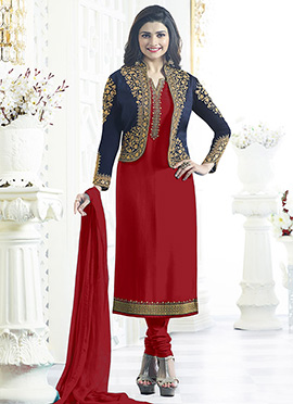 Prachi Desai Red Jacket Style Churidar Suit