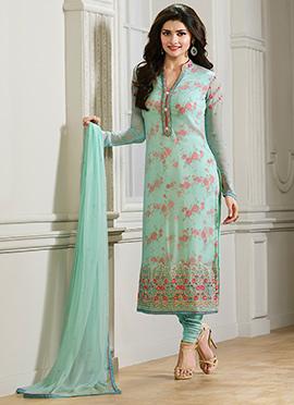 Prachi Desai Sea Green Churidar Suit