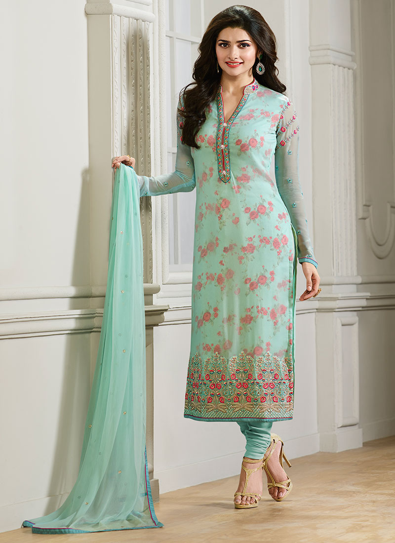 Buy Prachi Desai Sea Green Churidar Suit Embroidered