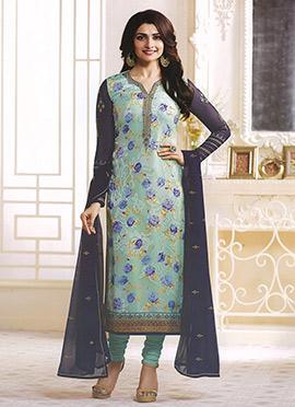 Prachi Desai Sky Blue Georgette Churidar Suit