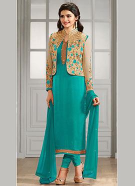 Prachi Desai Teal Blue Jacket Style Straight Suit