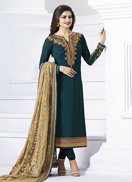 Prachi Desai Teal Georgette Straight Suit