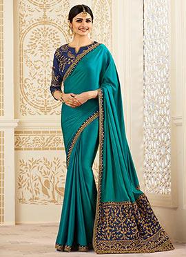 Prachi Desai Teal Green Art Silk Saree