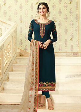Prachi Desai Teal Green Embroidered Straight Suit
