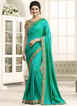 Prachi Desai Teal Green Border saree