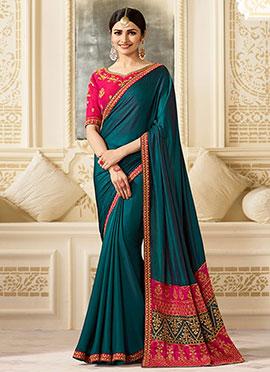 Prachi Desai Turquoise Art Silk Saree
