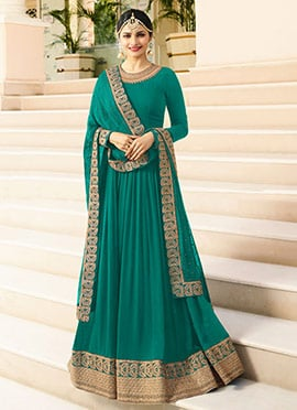 Prachi Desai Turquoise Embroidered Anarkali suit