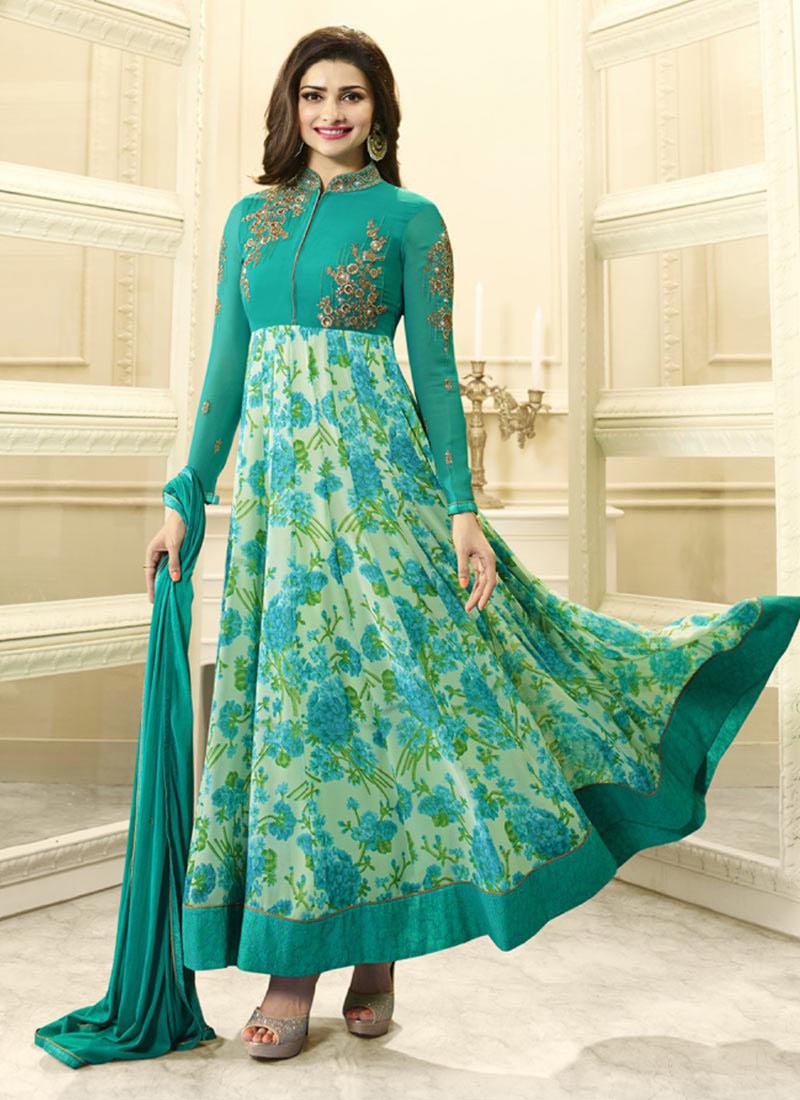 Buy Prachi Desai Turquoise Green Anarkali Suit, Sequins , Printed ...