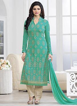 Prachi Desai Turquoise Straight Pant Suit