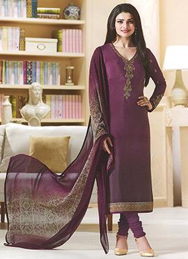 Prachi Desai Wine Crepe Straight Suit