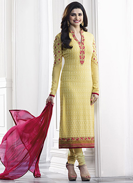 Prachi Desai Yellow Georgette Straight Suit