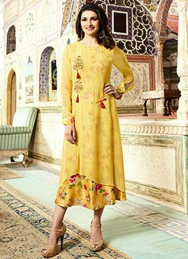 Prachi Desai Yellow Printed Layered Kurti