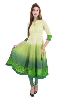 Prakhya Green Viscose Ombre Dyed Anarkali Kurti