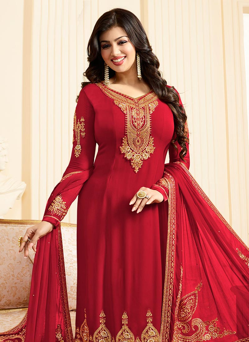 Buy Ayesha Takia Red Georgette Straight Suit Embroidered
