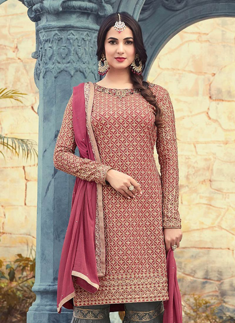 Buy Mauve Georgette Sharara Suit Embroidered Sharara