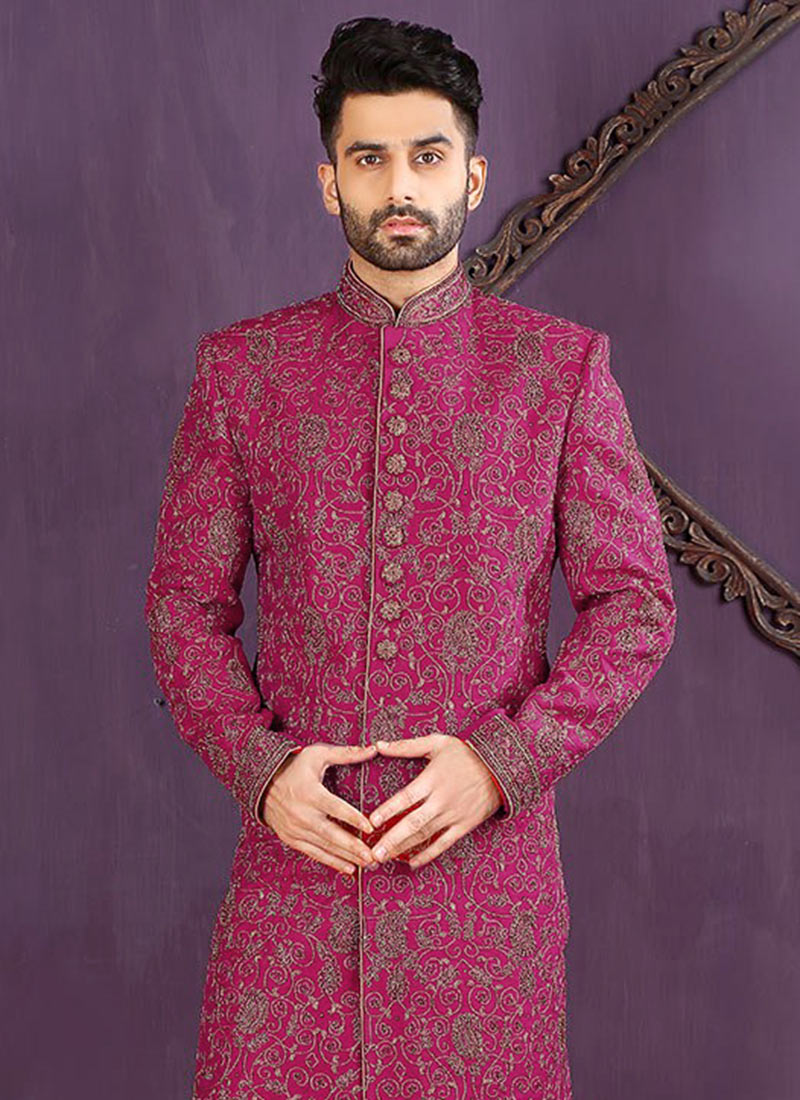 Bonito Sherwani Traje Para La Boda Patrón - Ideas de Vestidos de ...