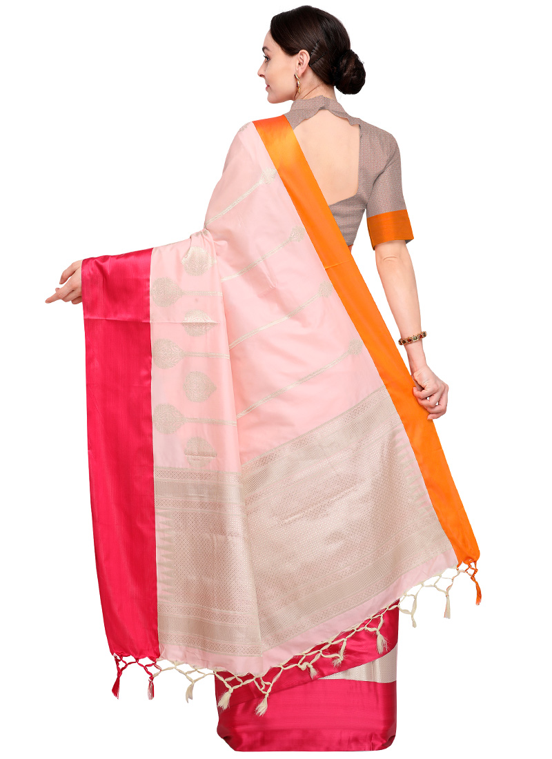Buy Baby Pink Zari Woven Saree Zari Sari Online Shopping