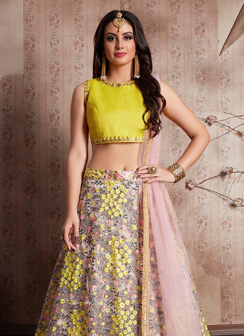Buy Light Pink N Yellow Embroidered A Line Lehenga