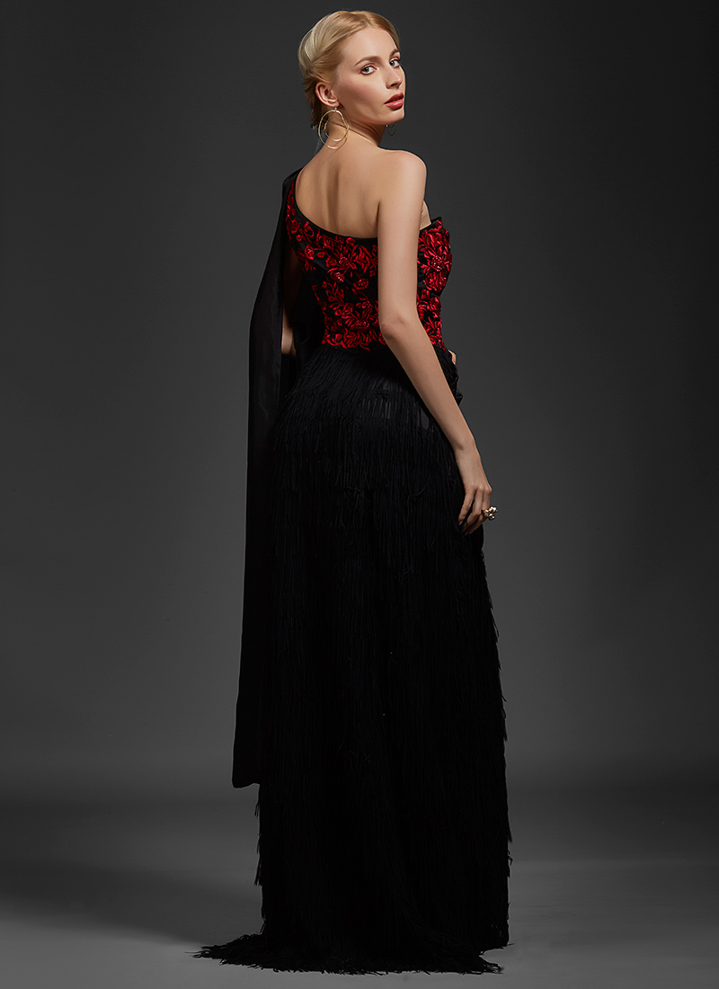 9ca4db76c2 Buy Black Embroidered One Shoulder Saree Gown