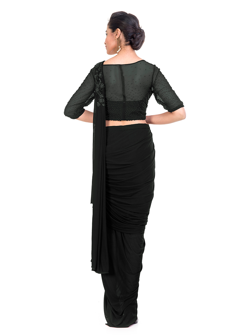 2220fe66ea Buy Black Embroidered Saree Gown