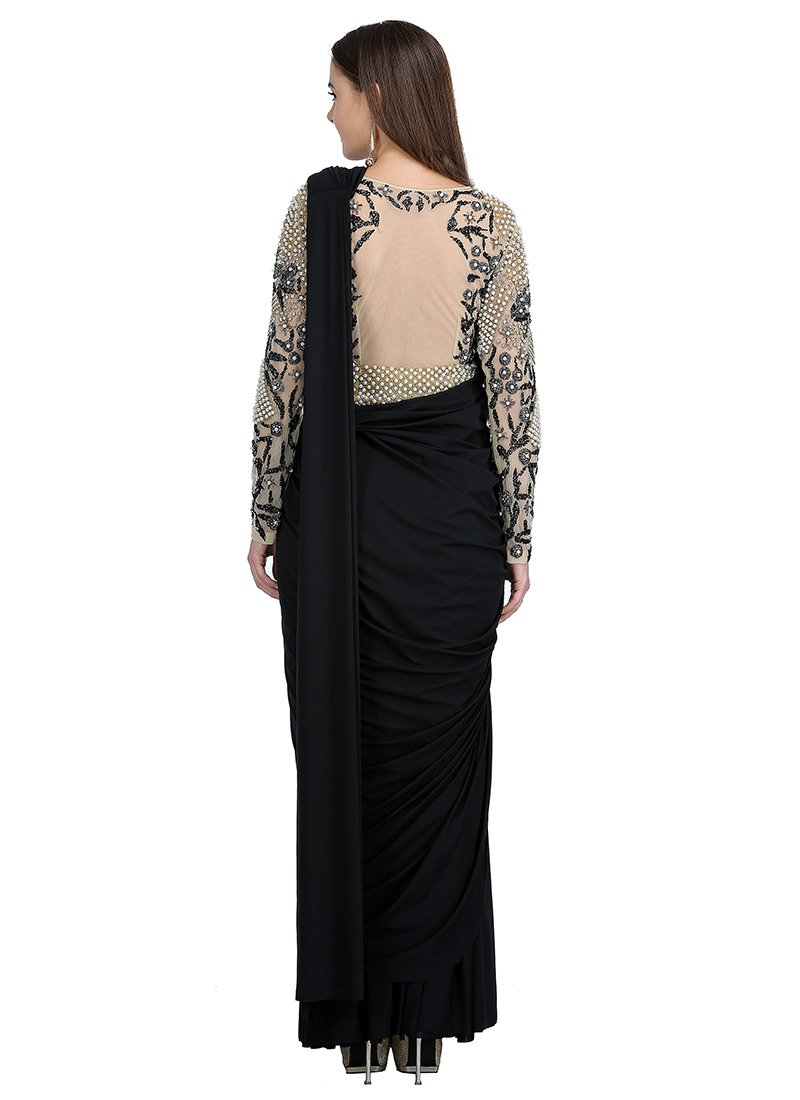 b6529003d4 Buy Black Embroidered Saree Gown, Beads , Embroidered, dresses and ...