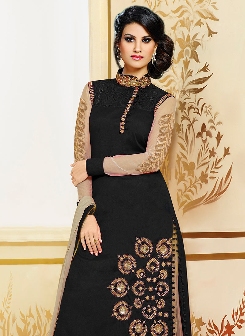 Buy Black Pure Silk Palazzo Suit, palazzo-suit Online Shopping ...