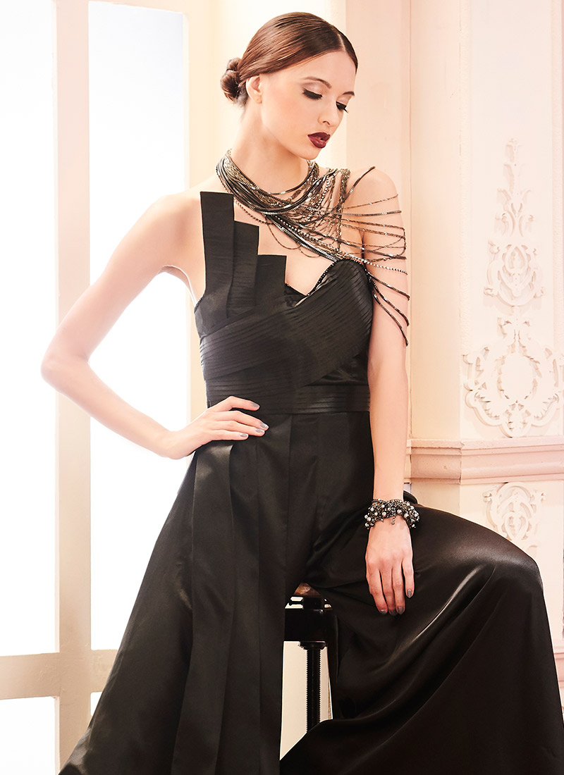 Buy Black Satin Jumpsuit, Party, dresses and gown Online Shopping ...