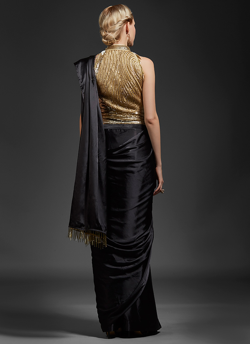 Buy Black Sequins Embroidered Saree Gown, Sequins , Embroidered ...