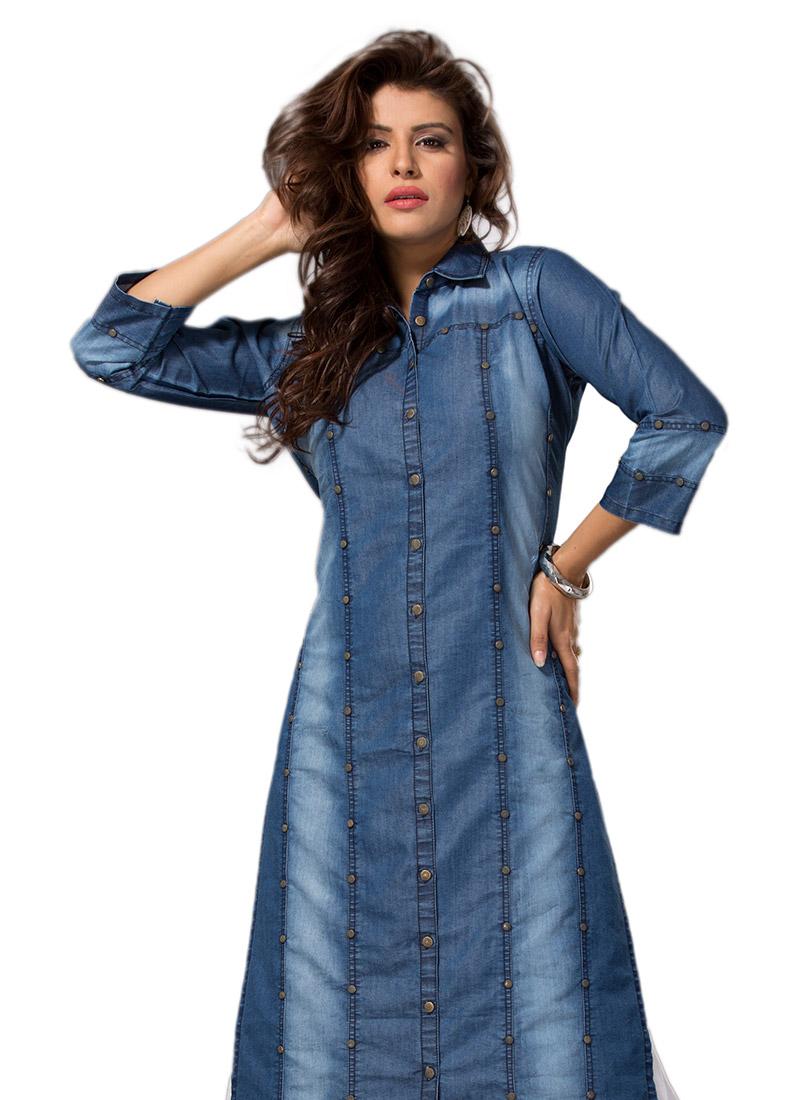 Buy Blue Denim Shirt Style Kurti knee-length-kurti Online Shopping KRSVND21540