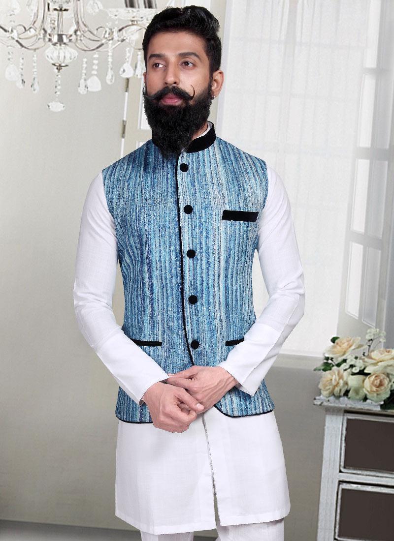 Buy Blue Jacquard Stripe Patterned Nehru Jacket, Jacquard, nehru ...