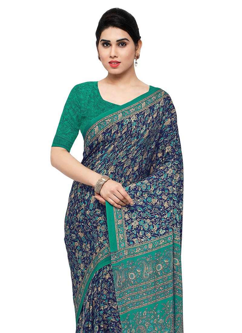 121025a7420bb Buy Blue N Green Art Silk Saree