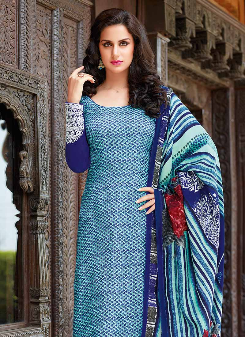 Buy Blue Tussar Silk Straight Pant Suit Online at Best Price|Buy ...