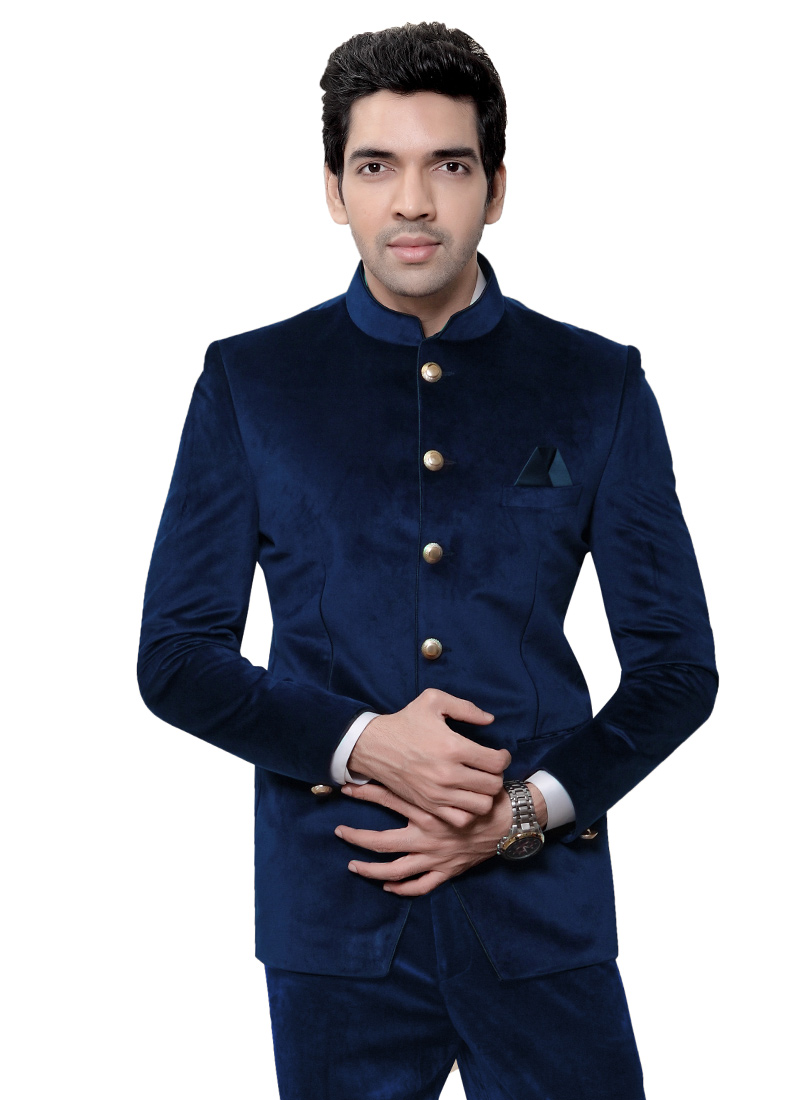 buy blue velvet bandhgala suit velvet bandhgala suits online shopping sumdcr3332. Black Bedroom Furniture Sets. Home Design Ideas