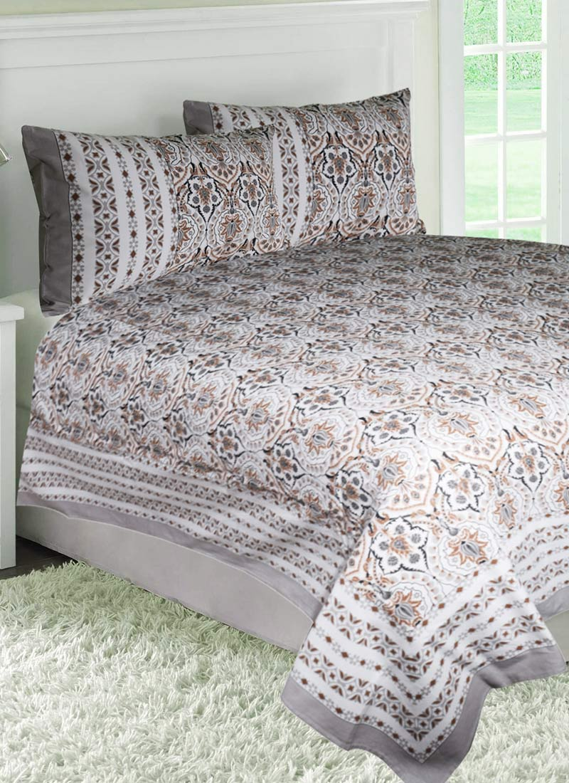 White cotton bed sheets - Brown N White Cotton Bed Sheet