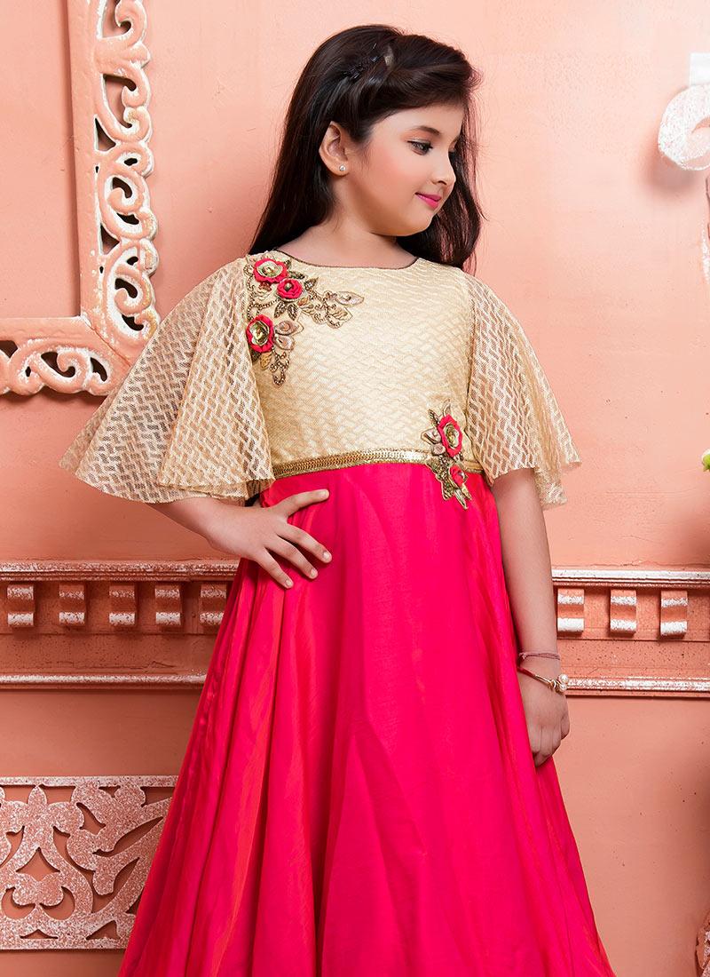 Buy Cream N Pink Art Silk Net Kids Gown, Sequins , Patch Work, girls ...