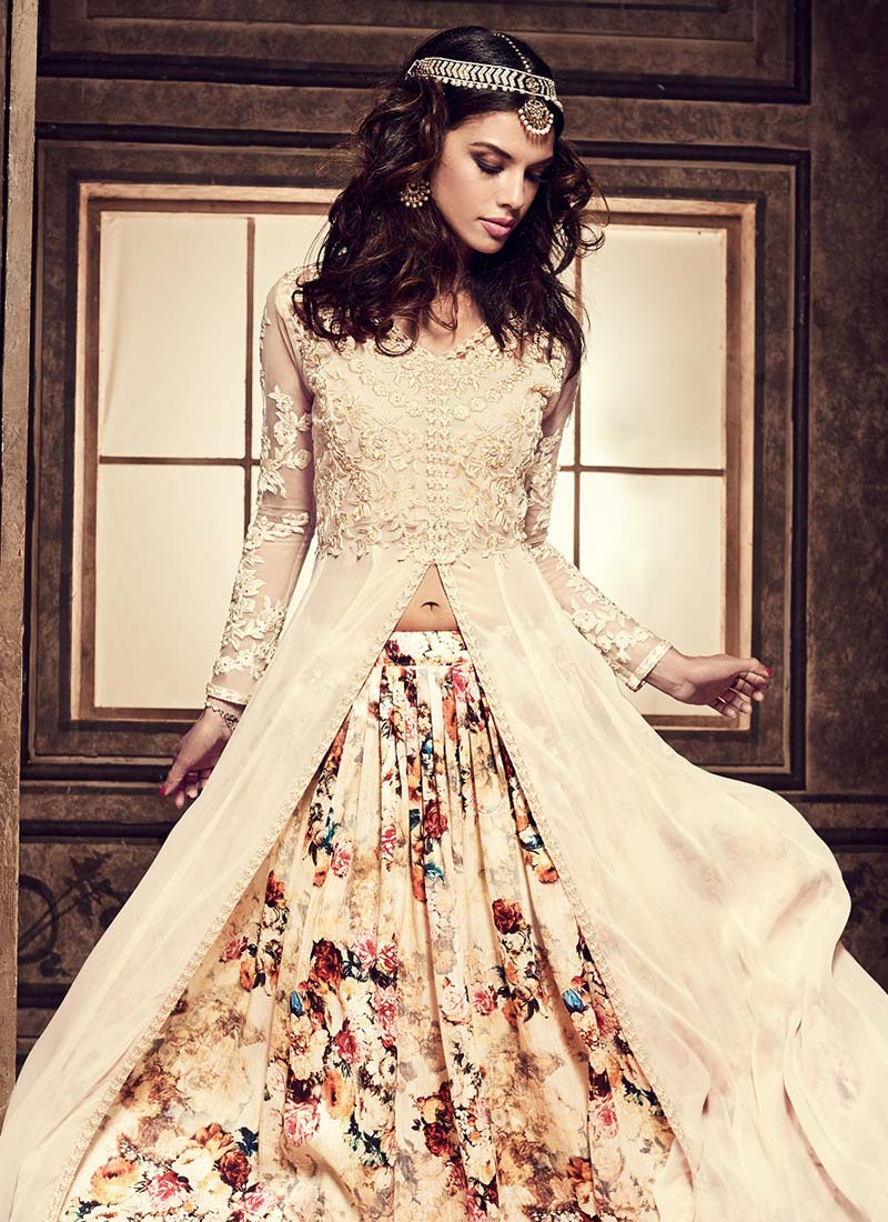 eb9dc7ce25d Buy Cream Umbrella Long Choli Lehenga
