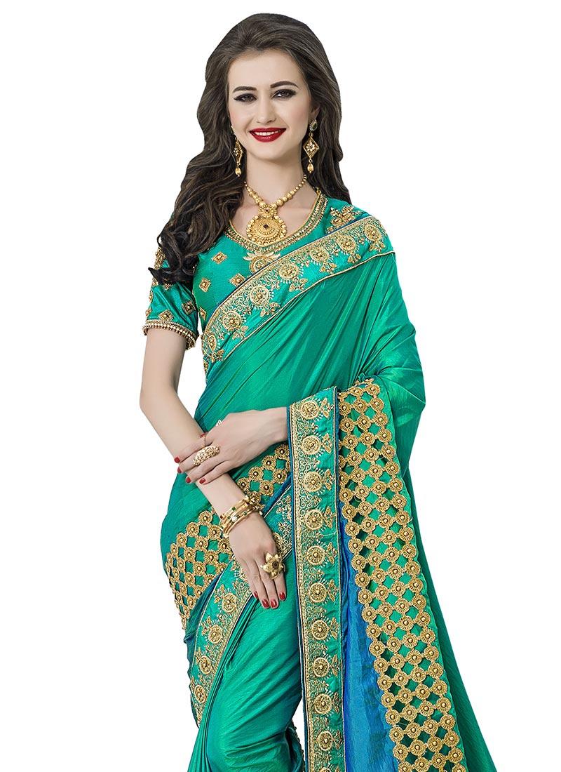 7f1e9ef0f04fb Buy Green N Blue Art Silk Saree