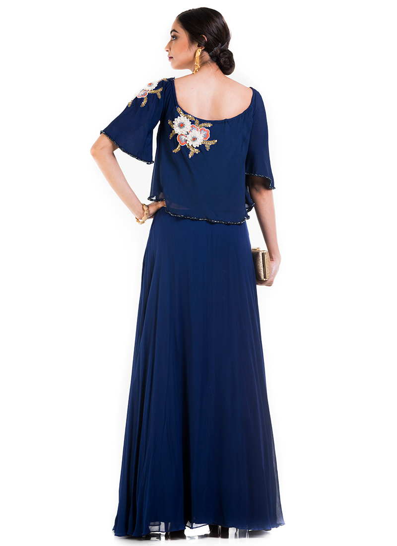 buy indigo blue georgette dress dressesandgown online