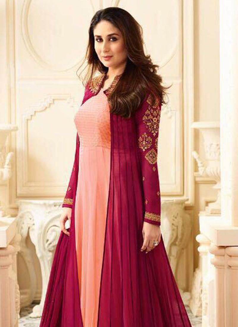 Buy Kareena Kapoor Peach N Pink Anarkali Suit Embroidered