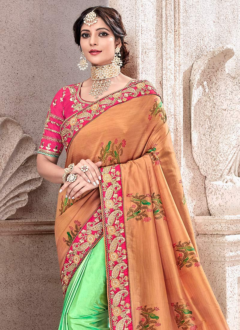 d4b021855708d2 Buy Light Green N Orange Art Benarasi Silk Half N Half Saree ...