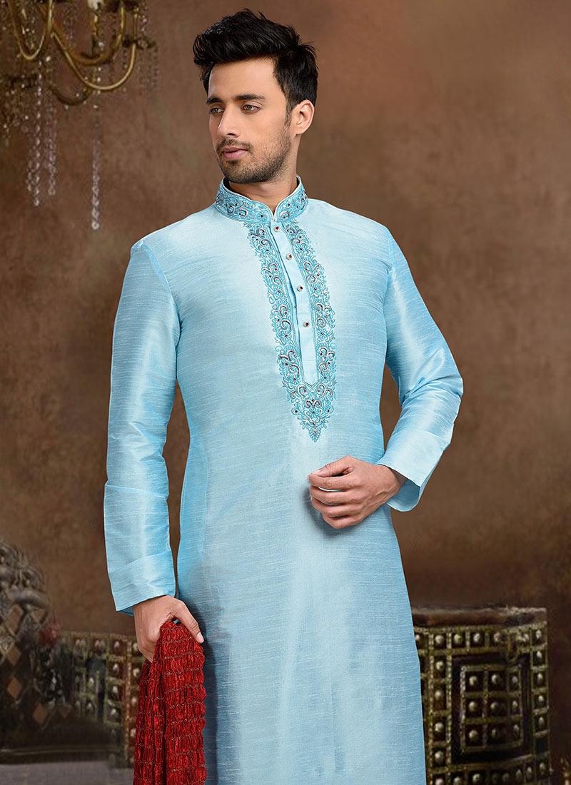 Buy Light Sky Blue Art Dupion Silk Kurta Pyjama, Eid , Party Wear ...