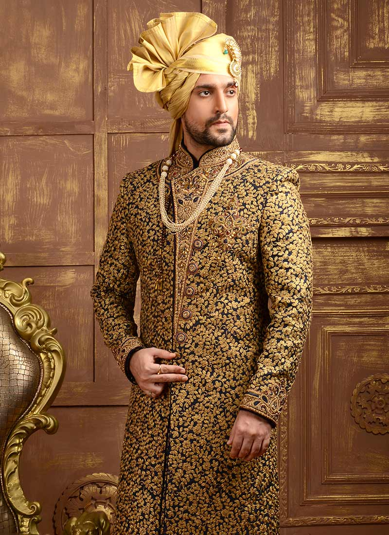 Buy Navy Blue Art Silk Angrakha Sherwani Stones